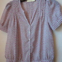 Sz Xs Urban Outitters Pins and Needles Pink Clover Sheer Peasant Blouse Top Photo
