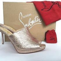 Sz36 Christian Louboutin Pigamule Rose Gold Leather Mule Slide Sandal Heel Pump  Photo