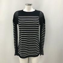 T Alexander Wang Top Navy White Stripe Patterned Long Sleeve Size Xs 443257 Photo