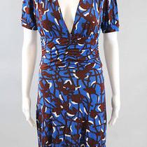 T-Bags Blue Brown White Printed v Neck Short Sleeve Mini Length Dress Size S Photo