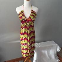 T-Bags Braided Halter Dress - Yellow/green/orange/pink/purple Print - Small Photo