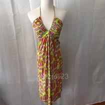 T-Bags Braided Halter Dress - Yellow/orange/pink/green Print - Small Photo