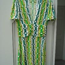 T-Bags Dress Los Angeles M 100% Rayon Retro Pattern Greens/yellow/ Cream Photo