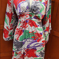 T-Bags Los Angeles Multi Color Slinky Tie Back Fluted Sleeve Dress S Small Photo