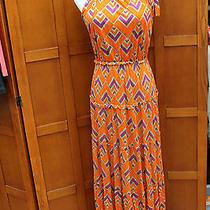 T-Bags Los Angeles Orange Print Long Maxi Dress Tie Straps S Small Photo