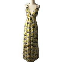 T-Bags Los Angeles Silk Print Halter Full Length Maxi v-Neck Dress M Photo