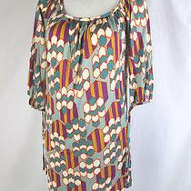 T-Bags M Medium Dress Graphic Print Wide Scoop Neck Pretty Tie Sleeves Funky  Photo