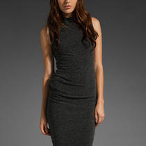 T by Alexander Wang Black Twist Mock Neck Midi Dress S Photo