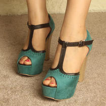 T-Strap Peep Toe Cuban Heels Platform Buckle Sandal Party Aqua Color Shoes Size Photo