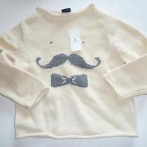 T4 Baby Gap Intarsia Mustache Man Ivory & Gray Knit Sweater 18-24  Months Nwt Photo