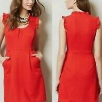 Tabitha Anthropologie Cherie Red - Orange Textured Knit Ruffle Sheath Dress Sz 2 Photo