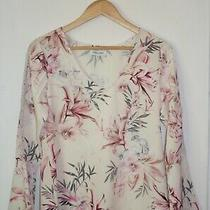 Table Eight Top Size 8 Blush Pink Floral Print Lace Bell Sleeve v-Neck Blouse  Photo