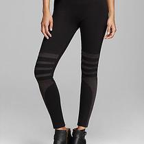 Tag Elemental Faux Suede Stripe Leggings Size M Nwt Black Photo