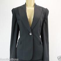 Tahari Blazer Jacket Brian Navy Blue Gray Striped Size 8 Lulu Photo