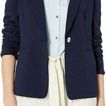 Tahari by Asl Women's Blazer Blue Size 4 One-Button Textured Notched 129 134 Photo
