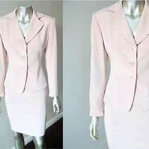 Tahari Vintage 90s Silk Pale Pink Blush Crepe Blazer Jacket Pencil Skirt Suit Xs Photo