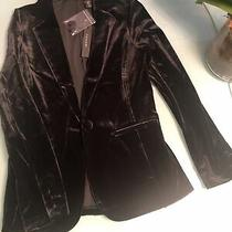 Tahari Women's Size S Silk Blend Velvet Velour Blush Black Blazer Jacket Photo