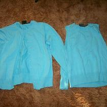 Tailor-B Moss Sz M Aqua 2 Pc Sweater Set-Tank Top Button Front Sweater-Used Photo