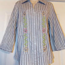 Talbot L Textured Feel Beautiful Blouse Shirt Top With 5 Button Closure on Sleev Photo