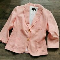 Talbot Linen Cotton Blazer Pink Salmon Size 2 Lined 2 Button  Photo