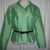 Talbot Nwot Pure Silk Belted Blazer Sz 20 Plus Green Photo