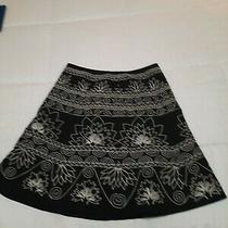 Talbot Petite Black-and-White Embroidered Skirt Size 10 Petite Photo