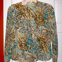 Talbot's Aqua/brown Pure Silk Button Down Top Round Glass Buttons 14 Nwt Photo