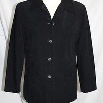 Talbot's - Ps - Solid Black Velvet Micro-Suede - 5-Button Career Jacket Photo