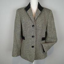 Talbot's Size 10 Wool  Leather Trim Blazer Black Ivory Tweed Az Photo