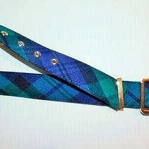 Talbot Women's Green & Blue Plaid X-Small Belt 35.5