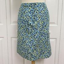 Talbots 100% Cotton Pencil Skirt Size 4p Blue-Green-Multicolor Photo