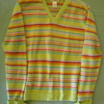 Talbots 100% Cotton v Neck Sweater Pink Yellow Aqua Light Green M Nwot  Photo