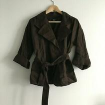Talbots 100% Pure Irish Linen Belted Trench Jacket Dark Brown 3/4 Sleeve Women 6 Photo