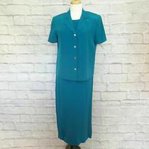 Talbots 100% Silk Blue Tank Dress With Jacket Size 8 Photo