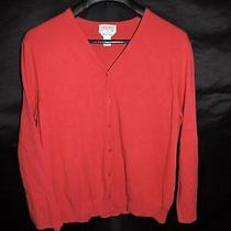 Talbots 1x Petite Red Cardigan Sweater Twin Set v Neck Button Front Short Sleeve Photo