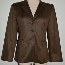 Talbots 4p Blazer Brown Button Front Silk Blend Lined Jacket 4 Petite Photo