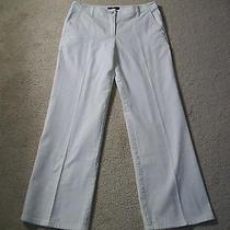 Talbots 8 Stretch White Denim Pants 100% Cotton Side Slit Pockets Ceramic Button Photo