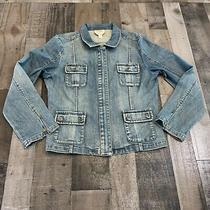 Talbots Adult Womens Size 14 Zip Up Long Sleeve Stretch Zip Up Blue Denim Jacket Photo