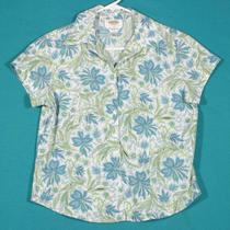 Talbots Aqua Cotton Shirt Top Blouse Size 6 S 4 Photo