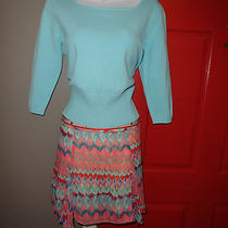Talbots Aqua Sweater Dream Out Loud Print Skirt Pm/9 Photo