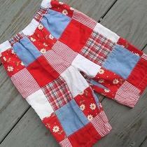 Talbots Baby Shorts Patchwork Cotton Red White Eyelet Blue Sz 12 Months Photo