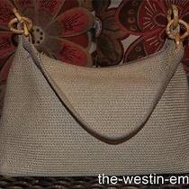 Talbots Beige Tan Woven Straw Shoulder Baguette W/bamboo Accents Handbag Purse Photo
