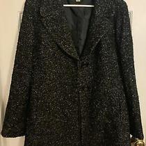 Talbots  Black and White Italian Fabric Button Trench Coat Jacket - Size 12 Photo