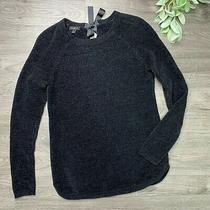 Talbots Black Chenille Crew Neck Tie Back Sweater Size Xs  Photo
