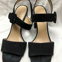 Talbots Black High Heel Sandals Suede Leather Size 6med Photo