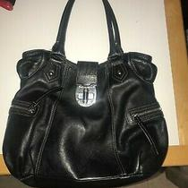 Talbots Black Leather Tote Purse Bag With Leather Handles Lots of Pockets Photo