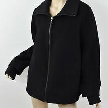 Talbots Black Melton Wool Blend Zip Front Ribbed Knit Trim Jacket Coat 16 Xl Photo