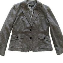 Talbots Blazer Black Gray Tweed Paisley Lining Wool Blend 2 Button Size 12 Photo