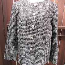 Talbots Blazer Jacket Silk Wool Black White Button Long Sleeve Size 12w Photo