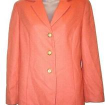 Talbots  Blazer Suit Jacket Orange/peach Cashmere/wool Size 4 R  Photo